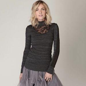 Free People Gray Sweater Lace Turtleneck Medium